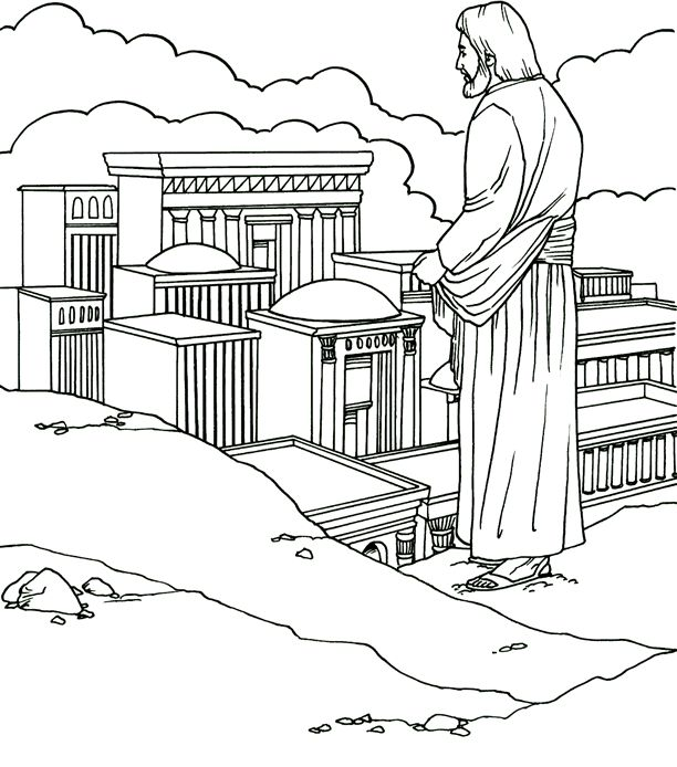 Christs Temptation In The Desert Catholic Coloring Page