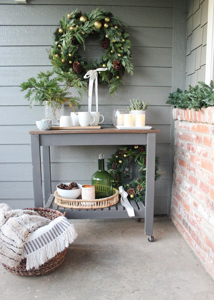 Home Depot - Chic Little House Cozy and Inviting Front Porch Christmas Decor