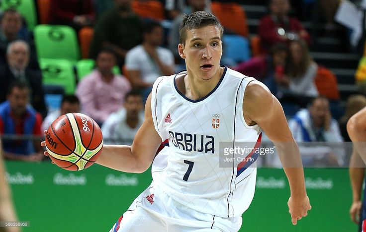 Bogdan Bogdanovic of Serbia in action during the basketball match between France and Serbia on day 5 of Rio Olympic Games at Carioca Arena 1 on August 10, 2016 in Rio de Janeiro, Brazil.
