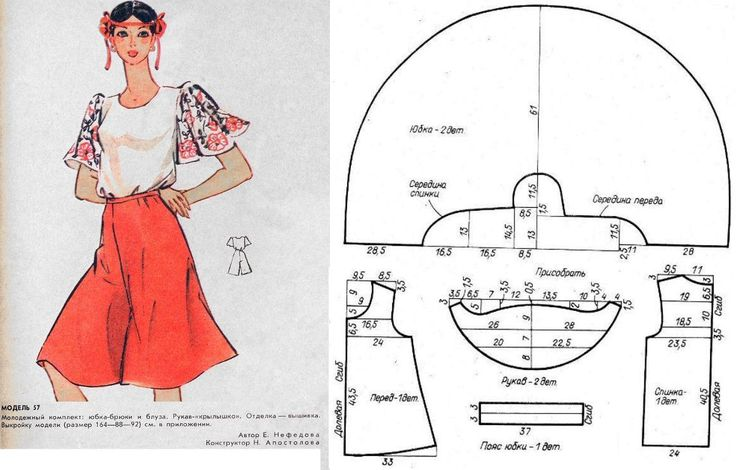 Vintage blouse & culottes. Twisted pattern.