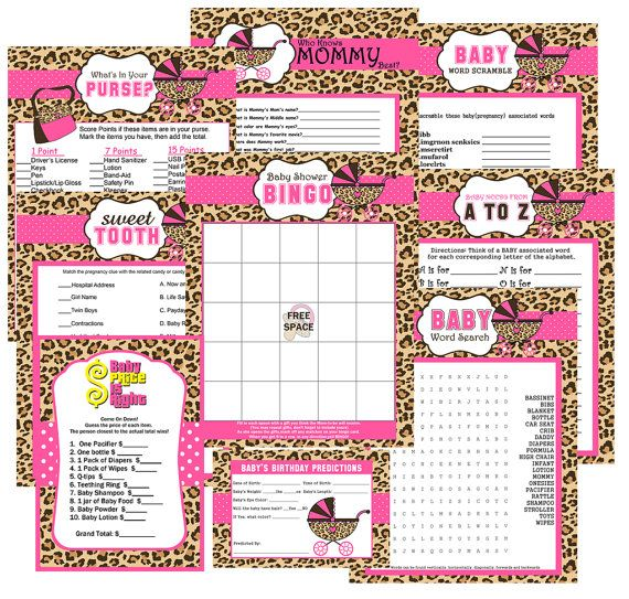 Cheetah Print Baby Shower Party Games by ADTRCustomDesigns, $9.50