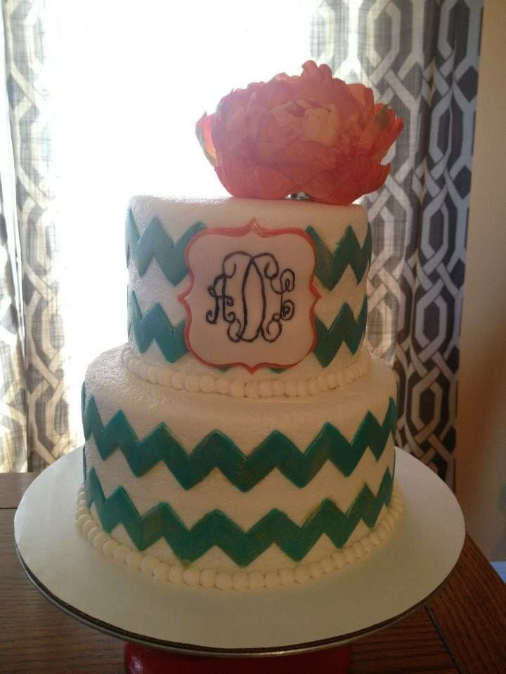 Custom homemade chevron & monogram cake