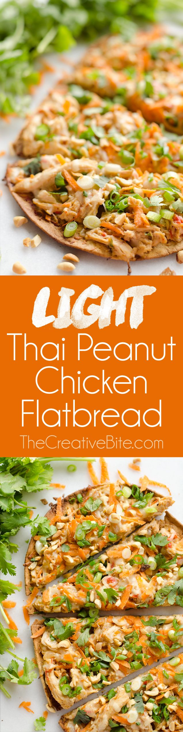 Light Thai Peanut Chicken Flatbread is a quick and healthy recipe perfect for a weeknight dinner! A thin and crispy flatbread is topped with Crock Pot Thai Peanut Chicken, cheese and crunchy vegetables and peanuts. #ThaiPeanut #chicken #Flatbread
