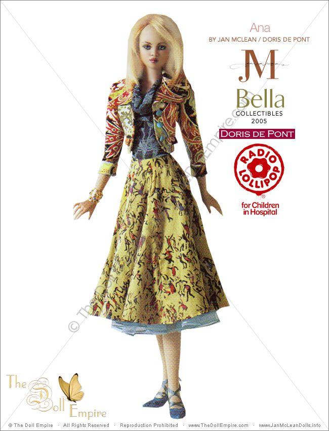 Ana by Jan McLean Doll Artist and Doris de Pont Fashion Designer - Bella Collectibles - New Zealand Radio Lollipop Charity Auction