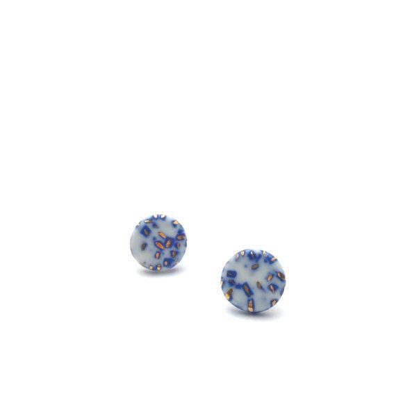 Azul cerámica pendientes joyería de cerámica de por OeiCeramics