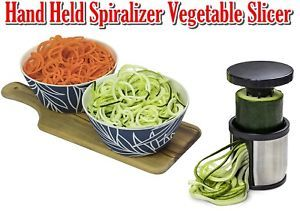 Hand Held Spiralizer Vegetable Slicer - Zoodle Maker - Veggie Spiral Cutter - FREE 10 Spiralizer Recipes PDF - Make Healthy Low Carb/Paleo/Gluten-free Noodles Quickly and Easily!