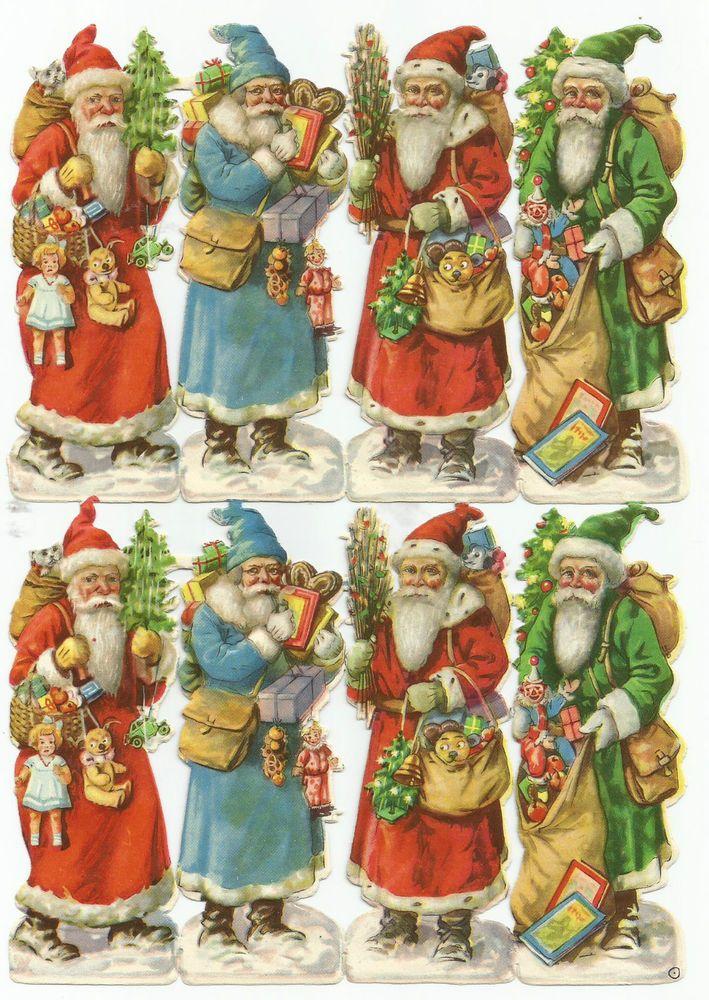 Glanzbilder,Oblaten,Scraps,Cromos, Weihnachtsmänner SELTEN