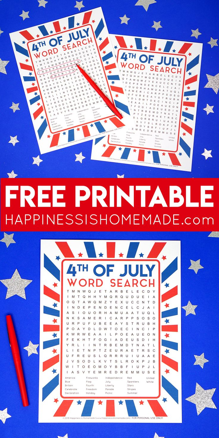 This fun printable 4th of July Word Search puzzle is a ton of fun for kids and f…