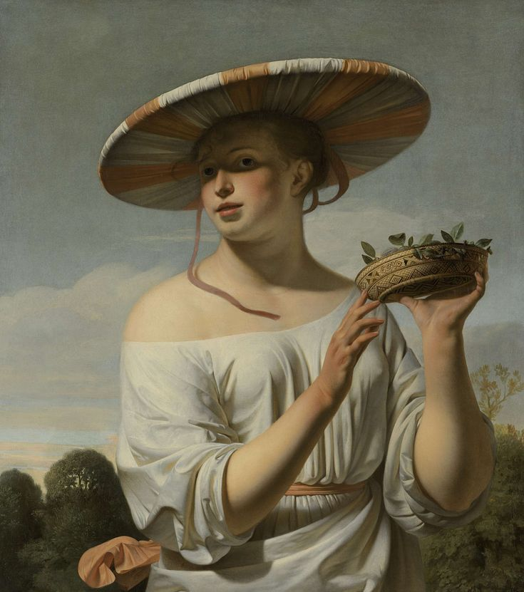 This woman with her wide sunhat and seductive, bared shoulder is similar to the enticing shepherdesses that often appear in Dutch paintings. She proffers a small basket of fruit to the viewer in an unmistakably erotic gesture. The picture was originally intended to be displayed high on a wall, above a door or mantelpiece. That is why she looks down at us. Caesar Boëtius van Everdingen, 1645.