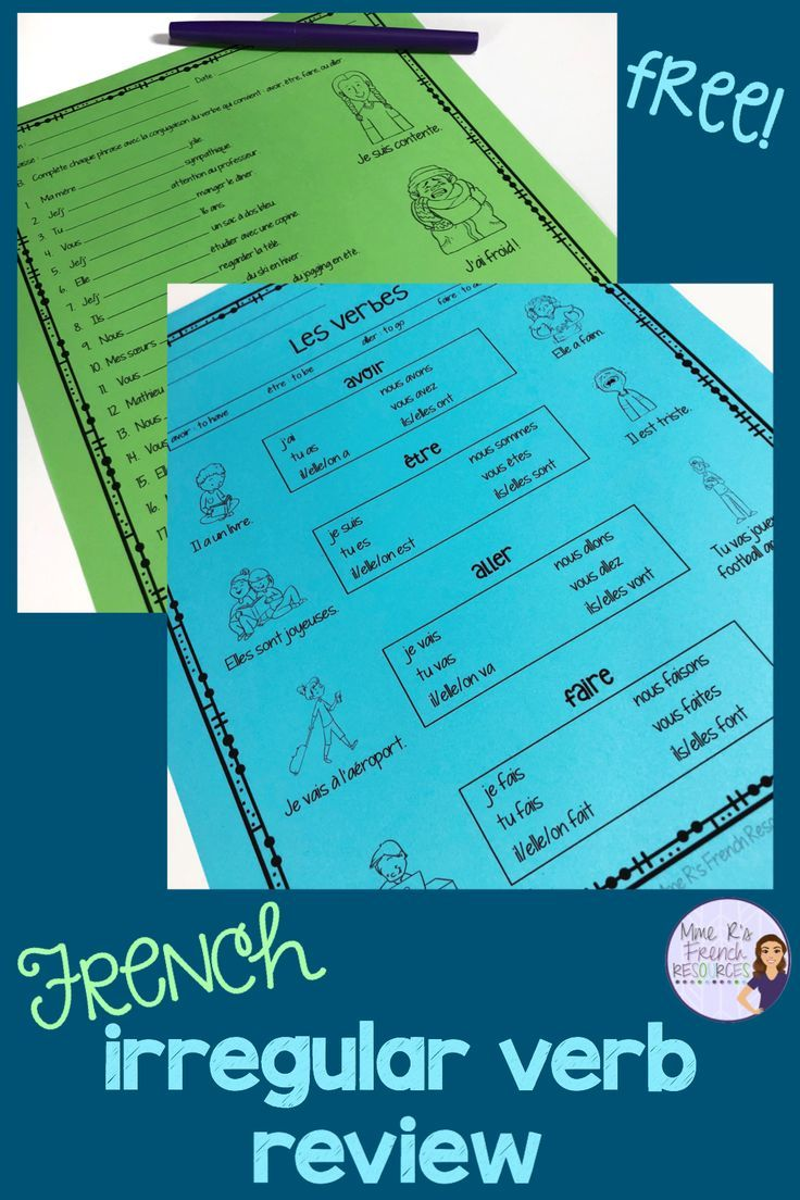 This French Verb Conjugation Sheet Is A Quick And Easy Way To Review The Common Irregular Ve Teaching French French Teaching Resources French Verbs Conjugation [ 1104 x 736 Pixel ]