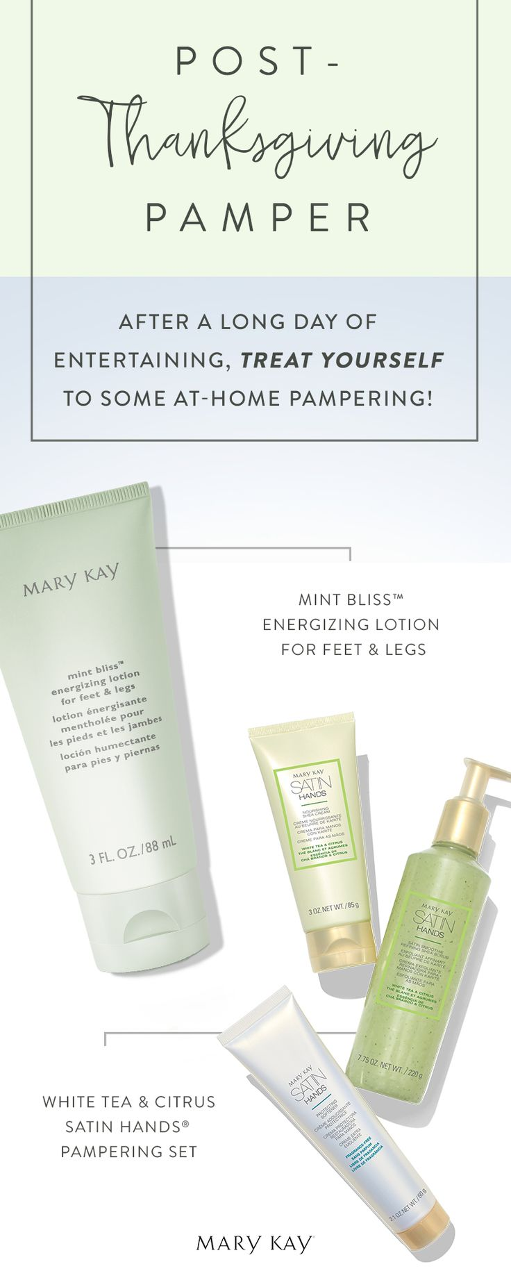Post-Thanksgiving pampering calls for comfort and joy for your hands, feet and legs. | Mary Kay