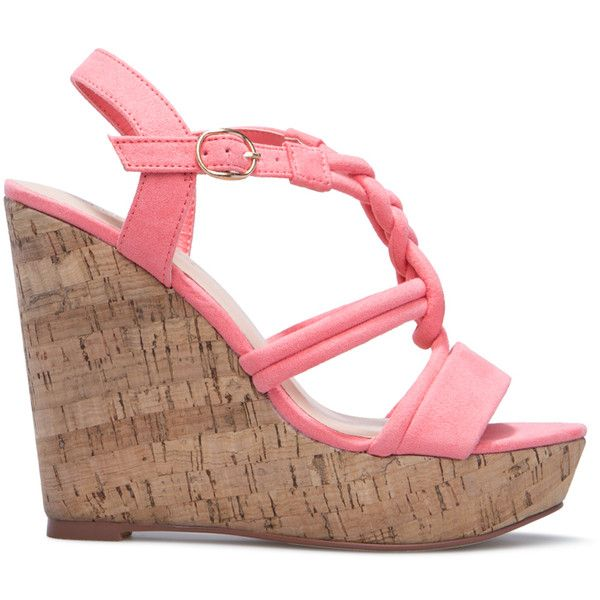 ShoeDazzle Wedge Lolita Womens Red/Pink/Orange ❤ liked on Polyvore featuring shoes, sandals, pink wedge sandals, orange wedge shoes, red shoes, red wedge shoes and red wedge sandals