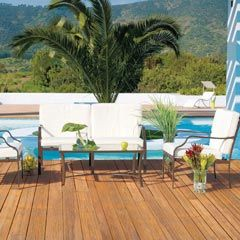 muebles para jardn terraza pileta almohadones blancos
