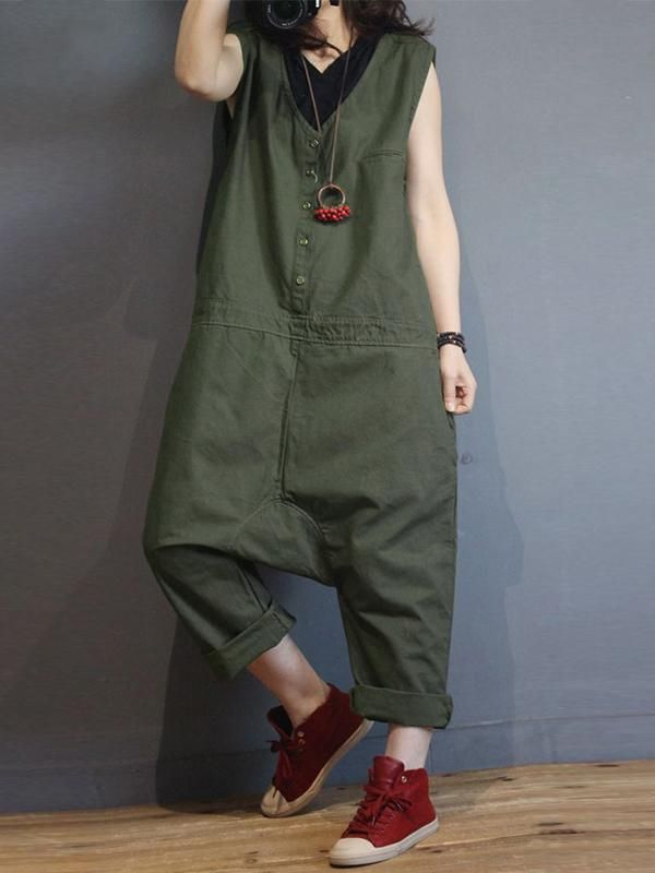 b5753c84ca7 Shop Jumpsuits   Rompers - leleyaja Solid Women Jumpsuits   Rompers Casual  Cotton Army Green Jumpsuits   Rompers online. Discover unique designers  fashion ...