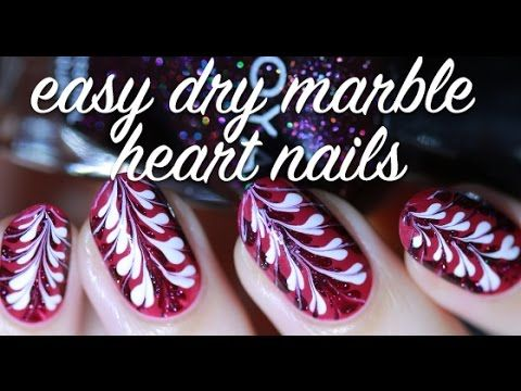 Easy Dry Marble (No Water) Hearts Nail Art Tutorial | Lacquerstyle - YouTube