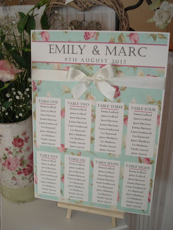 Country Cottage/Shabby Chic Wedding Table Seating Plan