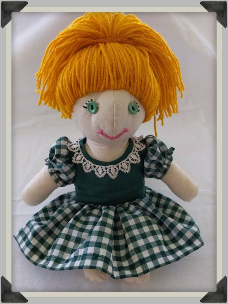 """A Rag Doll with yarn hair, button eyes and a gingham dress. I've called her """"Barbara"""" by ByCatDesign on Etsy"""
