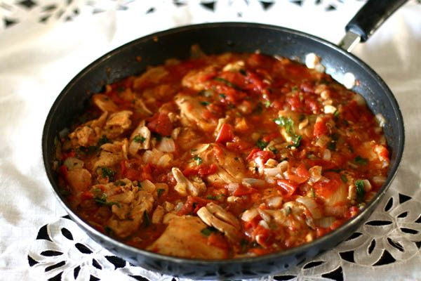 Try this classic recipe for Georgian chicken with eggs, or chakhokhbili, in which chicken is cooked with tomatoes and lots of fresh herbs and garlic. Yum!