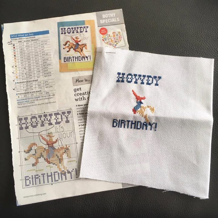 """It's great to see stitcher Sarah McLaughlin enjoying this retro cowboy card from our issue 239 (March 2016)! 😉 Sarah says, """"I'm stitching this super cute cowboy design for my dad's birthday in August. My dad was cowboy mad when he was a boy. He'll be 73 next month but I know he will love this."""" We're sure your dad will be thrilled to receive this stitched card, Sarah - there's something just so special about handmade gifts, isn't there?! #DMC #Threads #crossStitch #etamin #embroidery…"""