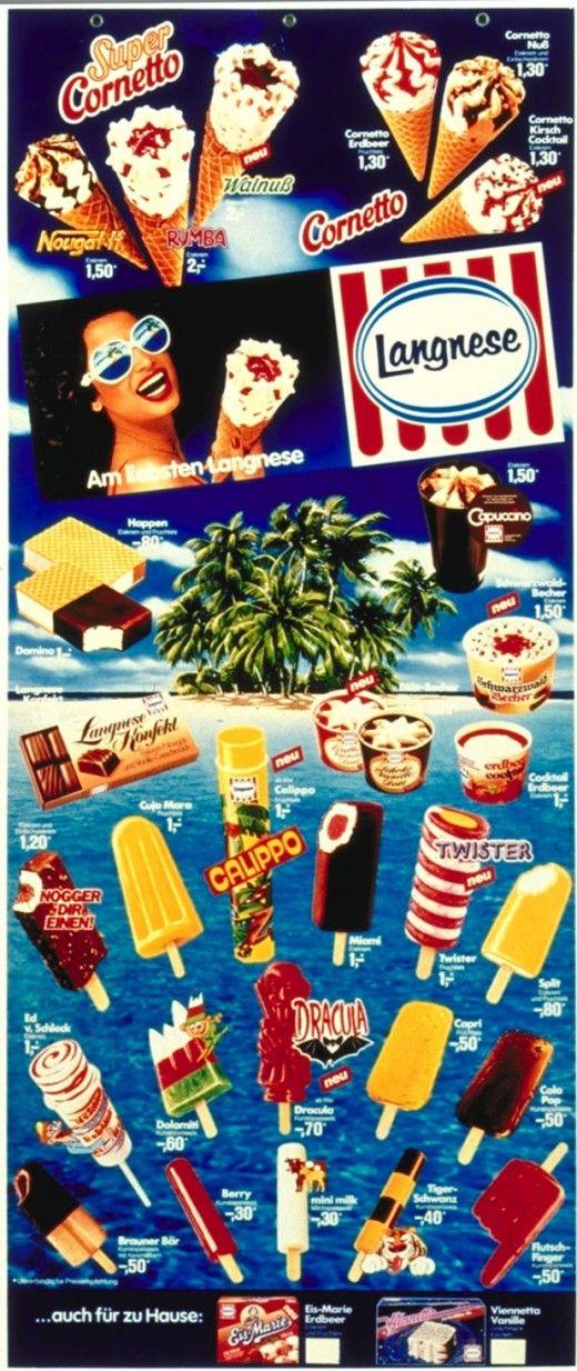 Langnese Eistafel, meine Favoriten waren Split, Domino und Cornetto Erdbeer.