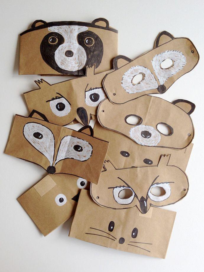 Tiermasken Idee zum basteln - aus braunen Papiertüten oder dünnem Karton.