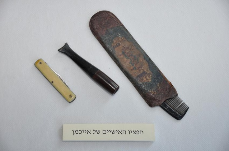 More belongings of Adolf Eichmann. His comb, a pocket knife and cigarette mouthpiece.