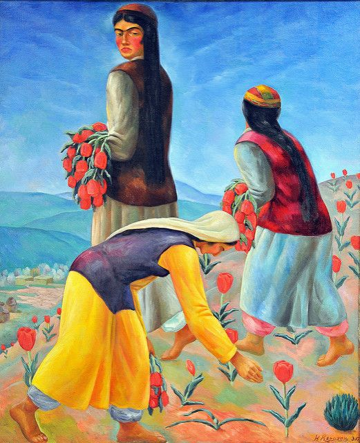 Сокровища Нукуса/Women Picking Tulips, N. Karakhan (1900-1970), Savitsky Art Museum, Nukus