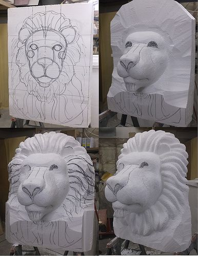 Lion Head eps foam sculpture process | Flickr - Photo Sharing!