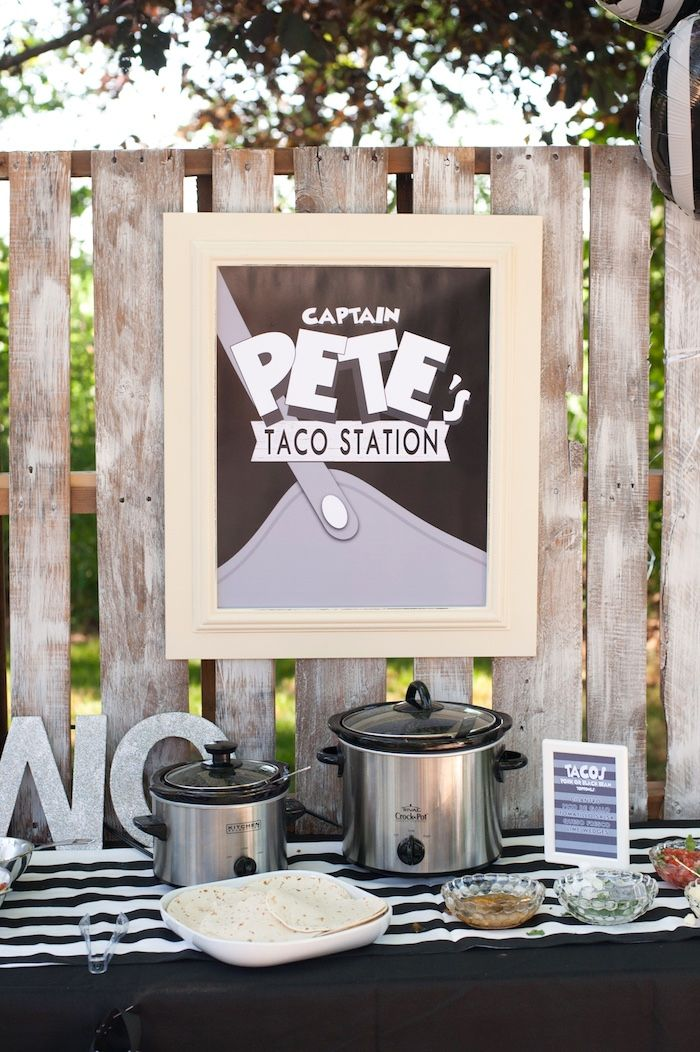 Captain Pete's Taco Station from a Steamboat Willie Classic Mickey Mouse Birthday Party on Kara's Party Ideas | KarasPartyIdeas.com (14)