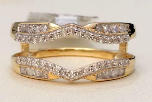 Solitaire-Enhancer-0-34ct-Diamonds-Ring-Guard-Wrap-Jacket-Yellow-Gold-Milgrain