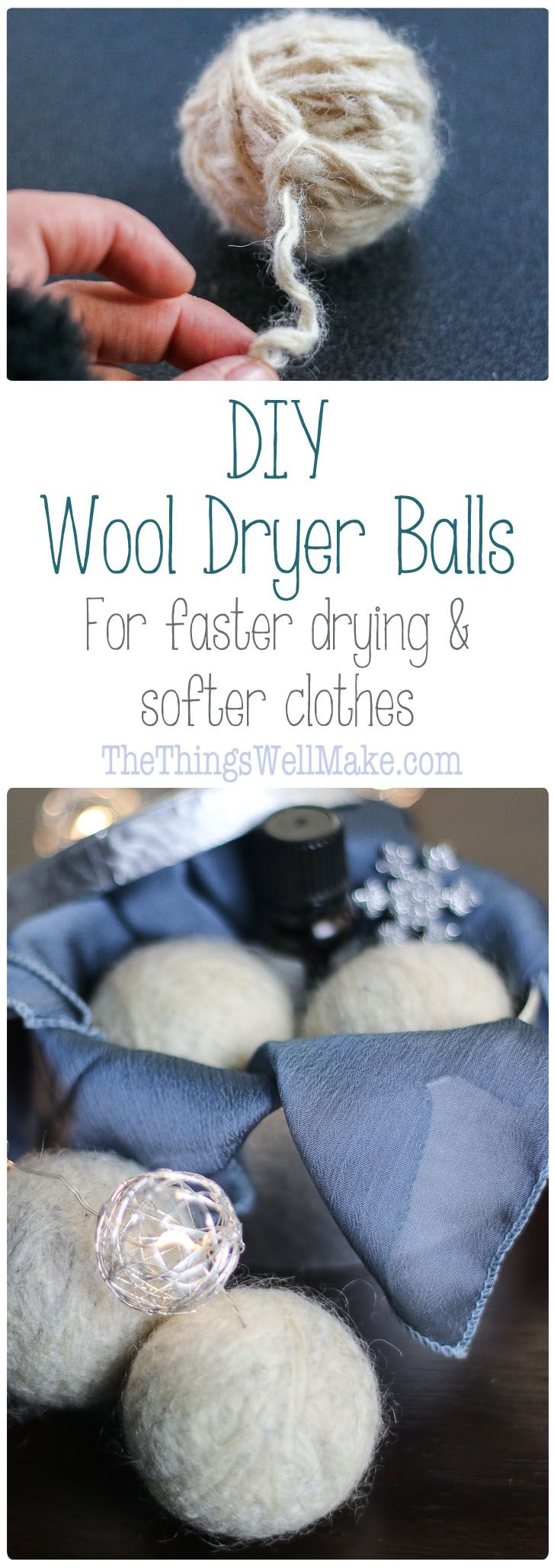 DIY wool dryer balls are easy to make, and are a simple, ecological way to soften clothes in the dryer. They can reduce dryer time and, perhaps, static cling.