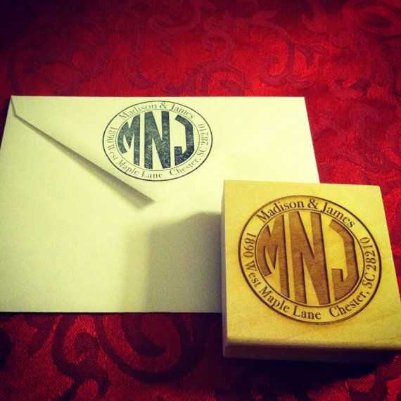 Monogram return address stamp by VinoBackyardDesigns on Etsy. Great for those thank you notes we will have to send after the wedding!