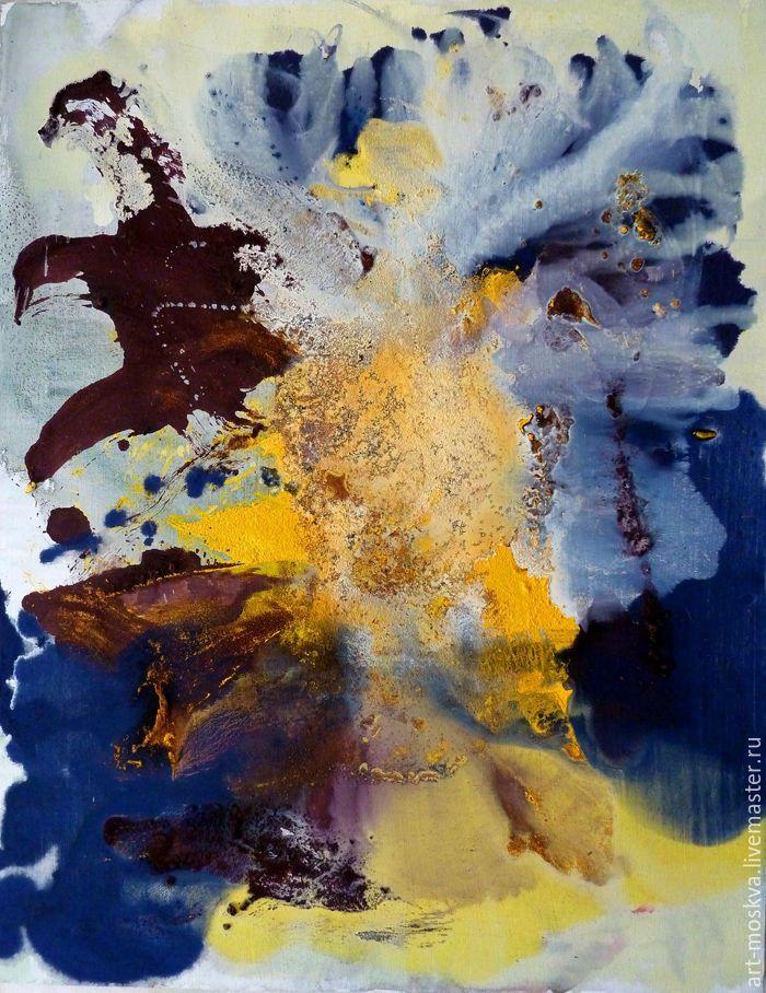Купить Букет. Абстракция 70х90 см - желтый, картина в подарок, картина для интерьера