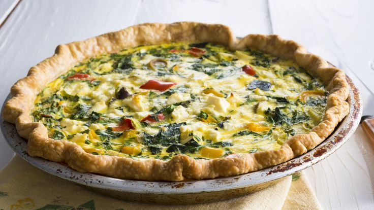 Kalamata olives and crumbled feta give the traditional breakfast quiche a delicious Greek-inspired twist.