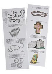 """The Easter Story (215-912) from Guildcraft Arts & Crafts! Perfect for Sunday School or an Easter event, these two-sided story cards outline the events leading up to Christ's  death and resurrection. Decorating supplies sold separately. 4"""" x 11"""". Package of 24."""