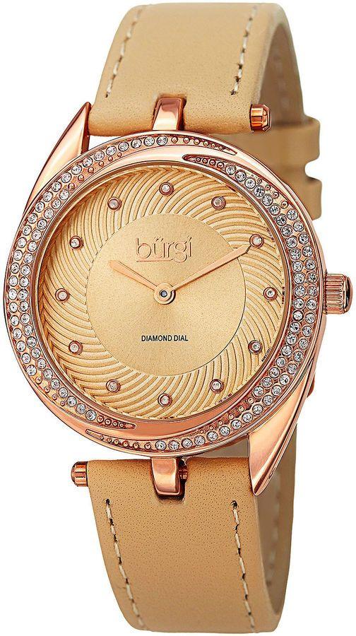 Burgi Womens Diamond-Accent Rose-Tone Bezel Tan Leather Strap Watch
