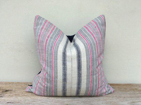 """Stripes Pillow Case Nature Hemp Hand Woven A Piece Of Vintage Tribal Textile 20"""" x 20"""" Minimalist pillow case, Hmong pillow case"""