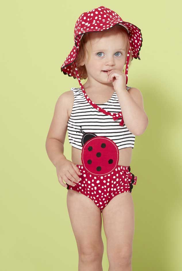 Baby and toddler swimsuits are adorable! You'll find bikini and tankini styles, suits with sparkles, ruffles, and fins and options in every color of the rainbow — all made with sun protective fabric.
