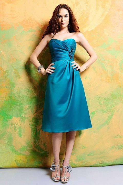 Amazing A-line empire waist satin dress for bridesmaid