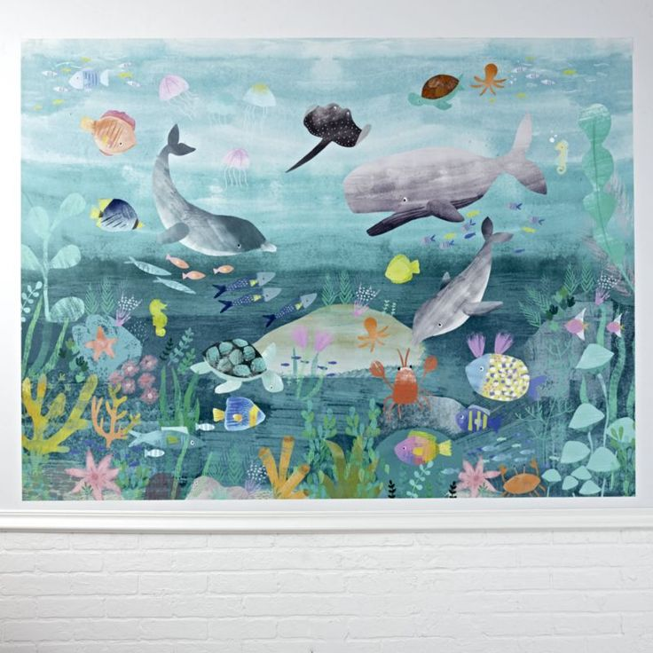 Shop Under The Sea Mural Wall Decal. This sea life mural is best looked at while wearing a snorkel and goggles. You won't actually need them, but they'll definitely help you appreciate the charming underwater illustrations from Paper & Cloth.
