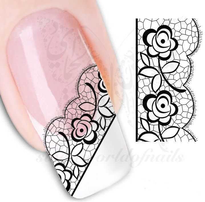 Nail art Black Flower Lace Nail water Decals Transfers wraps
