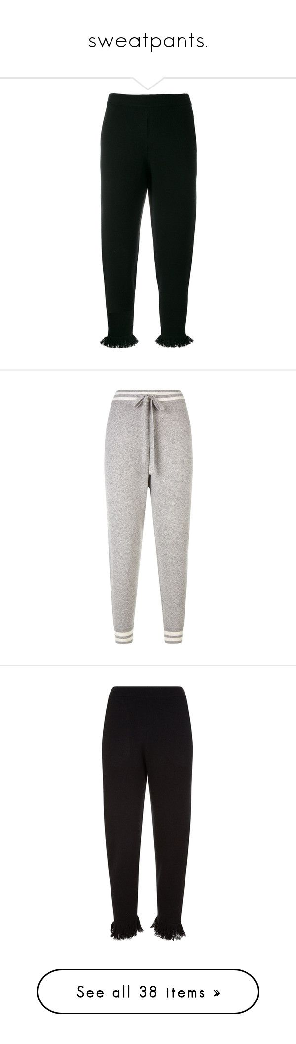 """""""sweatpants."""" by takenforfashion ❤ liked on Polyvore featuring pants, black, peplum pants, striped pants, white striped pants, white pants, white stripe pants, white trousers, activewear and activewear pants"""