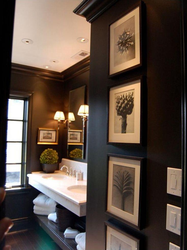 Chicago bathroom, dark wood and photo frames, masculine and unisex interior design