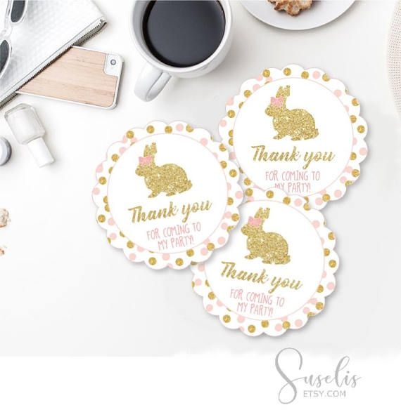 Digital Birthday Party Thank you Tags Gold Glitter and Pink