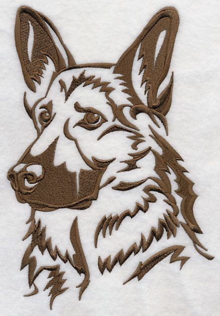 German Shepherd Silhouette Embroidered by EmbroideredbySue, $13.99
