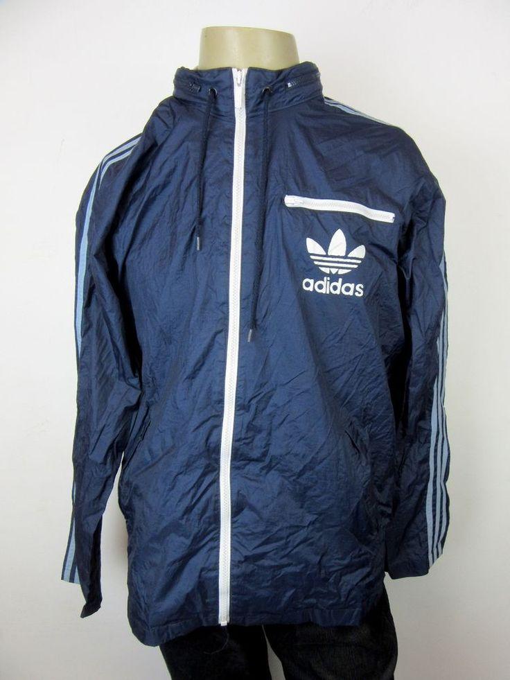 Vintage Retro Adidas Windbreaker Jacket Navy Blue Aqua 3 Stripe Zip Up Large
