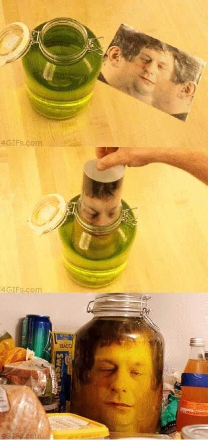 This head in a jar gag is an easy prank to pull on April Fool's Day!