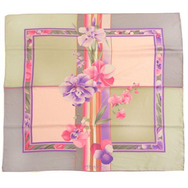 Leonard L9090M-S7274 3 Floral/Squares Silk Scarf – Purple