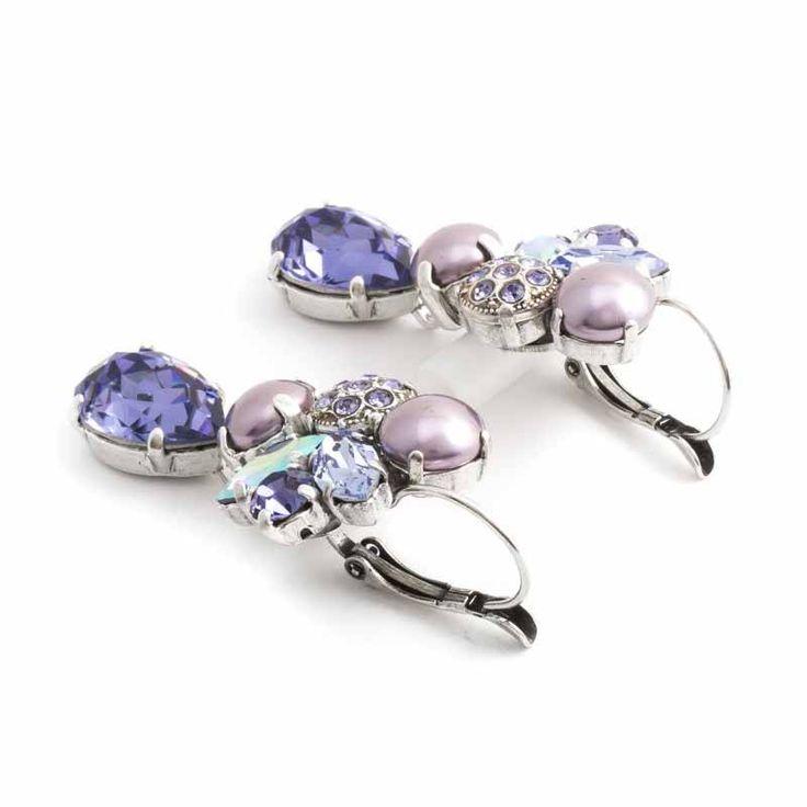 Moliere Paris Paarse oorbellen met Swarovski Elements kristallen en parels
