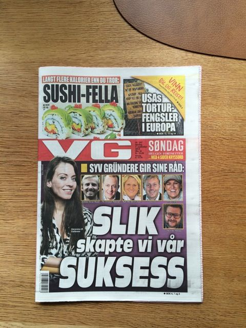 Veronica B. Vallenes on the frontpage of Norways biggest newspaper VG
